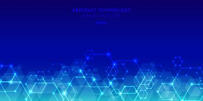 Abstract technology hexagons genetic and social network pattern on blue background. Future geometric template elements hexagon with glow nodes. Business presentation for your design with space for text