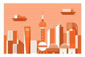 Achtergrond van de het oriëntatiepuntillustratie van Shanghai van de stad