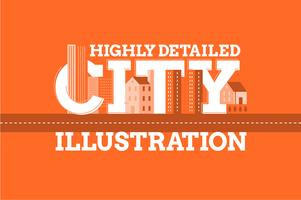 City landmark typography illustration background