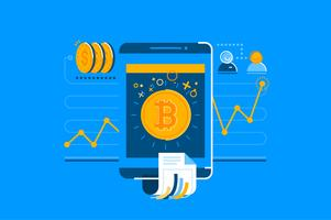Bitcoin mobile transaction illustration set