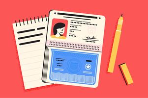 Passport travel essentials illustration set