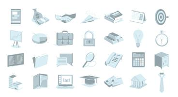 Business essentials illustration icons collection vector