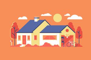Flat house building background illustration