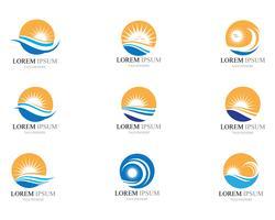 Diseño del ejemplo del vector del icono de la onda y del sol del agua