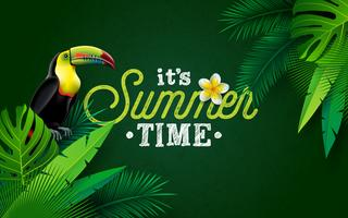 It's Summer Time Illustration with Flower and Toucan Bird on Green Background. Vector Tropical Holiday Design with Exotic Palm Leaves and Phylodendron