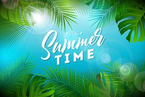 Summer Time Illustration with Typography Letter and Tropical Plants on Ocean Blue Background. Vector Holiday Design with Exotic Palm Leaves and Phylodendron