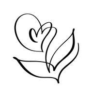 Flor de escova de vetor. Dia dos namorados mão desenhada ícone. Valentim do elemento da planta do projeto da garatuja do esboço do feriado. decoração de amor para web, casamento e impressão. Ilustração isolada