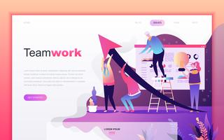 Modern flat cartoon design concept of Teamwork for website and mobile app development. Landing page template. Decorated people character for web page or homepage. Vector illustration.