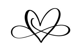 Palabra de amor en el signo del infinito. Firme en la postal al día de Valentines, impresión de la boda Vector la ilustración de la caligrafía y de las letras aislada en un fondo blanco