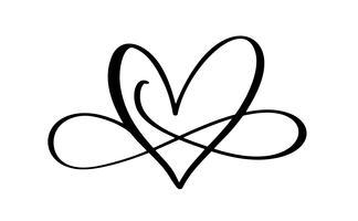Liebeswort Im Zeichen der Unendlichkeit. Unterzeichnen Sie auf Postkarte zum Valentinstag und Druck heiraten. Vector die Kalligraphie- und Beschriftungsillustration, die auf einem weißen Hintergrund lokalisiert wird