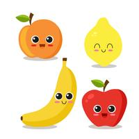 Cool fruit set vector