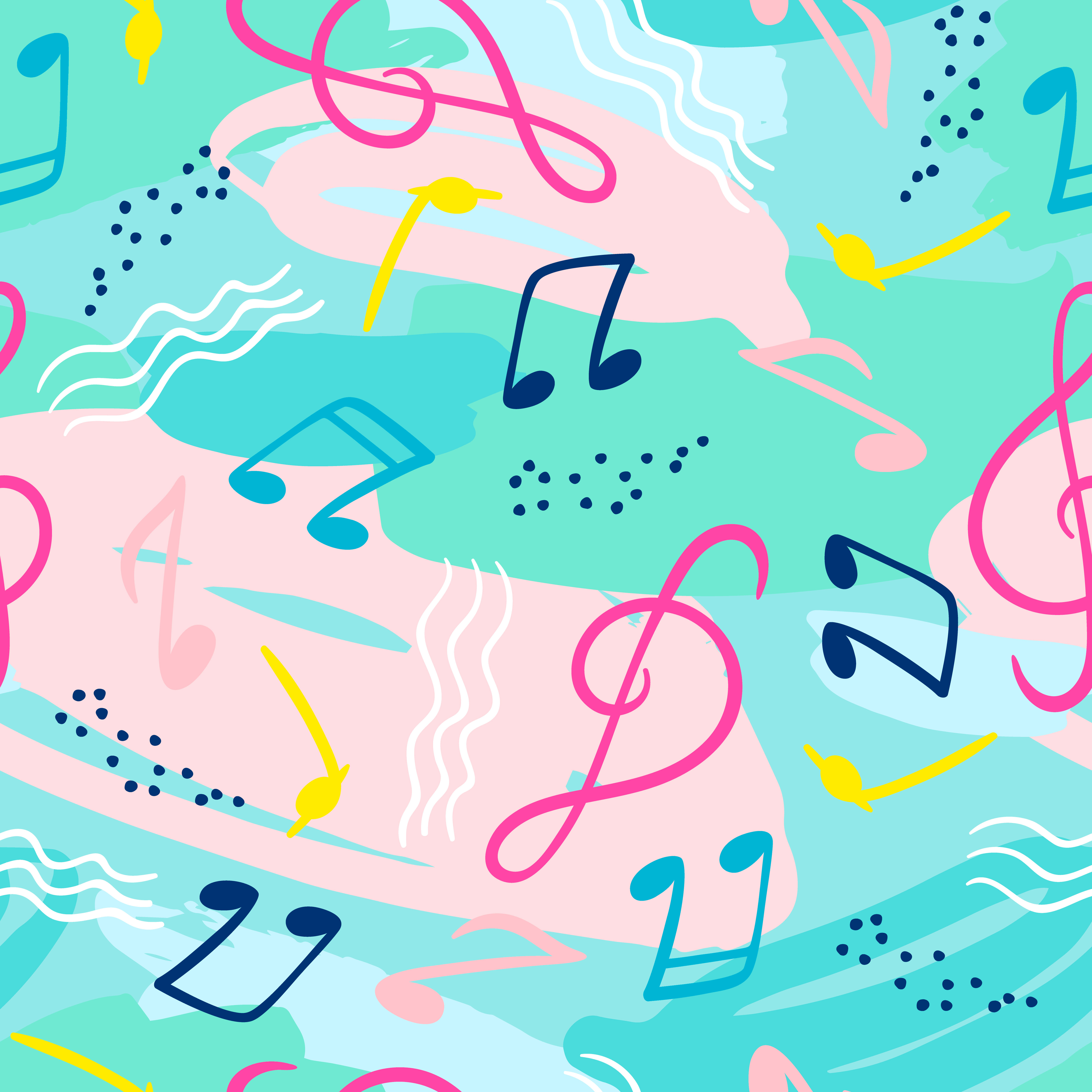 Seamless Pattern With Musical Notes Vector Hand Draw Background Download Free Vectors Clipart Graphics Vector Art
