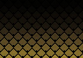 Abstract gold color chevron lines pattern on black background. Geometric tracery.