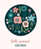 Design floral vetor. Modelo para cartão, cartaz, folheto, t-shirt, decoração e outros usos.