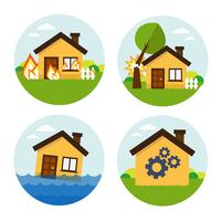 Round house set icons