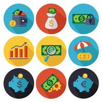 Financiën en bankwezen pictogrammen instellen