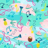 Patrón sin fisuras con notas musicales, instrumentos y símbolos de verano. Vector
