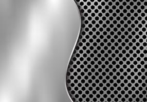 Abstract silver metal background made from hexagon pattern texture with curve sheet iron. Geometric black and white.