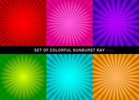 Set of retro shiny colorful starburst background. Collection of abstract sunburst radial red, pink, purple, green, blue, orange backgrounds.