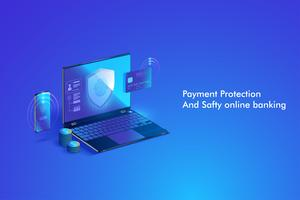 Secure online payment transaction with computer. Protection shopping wireless pay through computer via credit card. vector