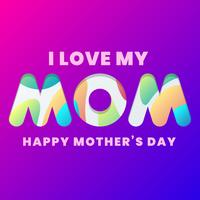 Mom Typography Design With Abstract Flowing Shapes Isolated Background