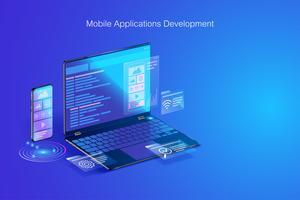 Desarrollo web, diseño de aplicaciones, codificación y programación en concepto de computadora portátil y teléfono inteligente con lenguaje de programación y código de programa y diseño en vector de pantalla