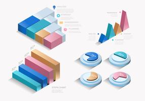Bunter moderner 3D Infographic-Element-Vektor-Satz
