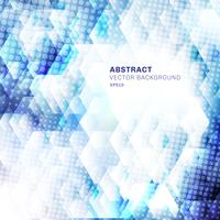 Abstract white and blue geometric hexagons shapes overlapping background with dots halftone. Technology concept. vector