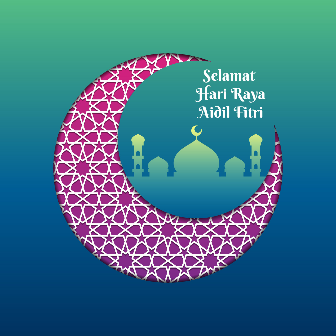 Hari Raya Greeting Template Islamic Crescent With Mosque Vector Illustration Download Free Vectors Clipart Graphics Vector Art