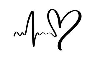 Mão desenhada sinal de amor de coração com eletrocardiograma. Vetor de caligrafia romântica do dia dos namorados. Símbolo do ícone de Concepn para cartão de felicitações, casamento de cartaz. Ilustração de elemento plano de design