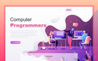 Modern flat cartoon design concept of Computer Programmers for website and mobile app development. Landing page template. Decorated people character for web page or homepage. Vector illustration.