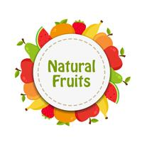 Natural fruits sticker vector