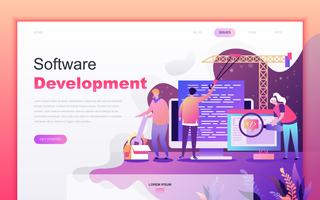 Modern flat cartoon design concept of Software Development for website and mobile app development. Landing page template. Decorated people character for web page or homepage. Vector illustration.