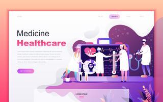 Modernt platt tecknade designkoncept för medicin och hälso- och sjukvård för webbutveckling och mobilapputveckling. Målsida mall. Inredda personer karaktär för webbsida eller hemsida. Vektor illustration.