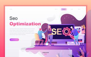 Modern flat cartoon design concept of SEO Optimization for website and mobile app development. Landing page template. Decorated people character for web page or homepage. Vector illustration.