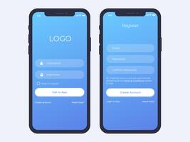 Mobile Login and Register Screen