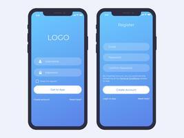 Mobiel login en register scherm