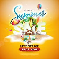 Diseño de la venta del verano con las gafas de sol y las hojas de palma exóticas en fondo tropical de la isla. Vector oferta especial ilustración con elementos de vacaciones