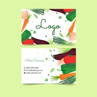 Watercolor Plants And Veggies Business Card Template