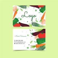 Modelo de Cartão-de-visita - plantas e vegetarianos da aguarela