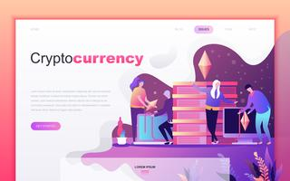 Modern flat cartoon design concept of Cryptocurrency Exchange for website and mobile app development. Landing page template. Decorated people character for web page or homepage. Vector illustration.