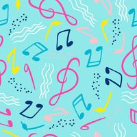 Seamless pattern with musical notes. Vector hand draw background