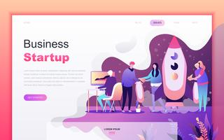 Modern flat cartoon design concept of Startup Your Project for website and mobile app development. Landing page template. Decorated people character for web page or homepage. Vector illustration.