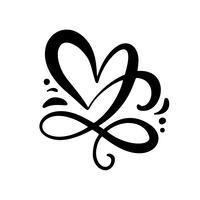 Romantische kalligrafie vector Hart liefde teken. Hand getekend pictogram van dag van de Valentijnskaart. Concepnsymbool voor t-shirt, groetkaart, affichehuwelijk. Ontwerp platte element illustratie