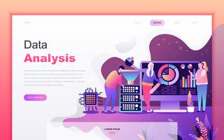 Modern flat cartoon design concept of Big Data Analysis for website and mobile app development. Landing page template. Decorated people character for web page or homepage. Vector illustration.