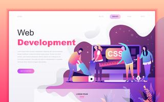 Modern flat cartoon design concept of Web Development for website and mobile app development. Landing page template. Decorated people character for web page or homepage. Vector illustration.