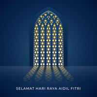 Selamat Hari Raya Aidilfitri Moskee venster illustratie