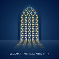 Ilustración de la ventana de la mezquita de Selamat Hari Raya Aidilfitri