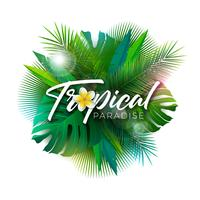 Summer Tropical Paradise Illustration with Typography Letter and Exotic Plants on White Background. Vector Holiday Design with Palm Leaves and Phylodendron