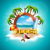 Vector Summer Holiday Illustration with Ship Steering Wheel and Exotic Palm Trees on Tropical Island Background. Exotic Plants, Flower, Beach Ball, Coconut, Surf Board and Sunshade
